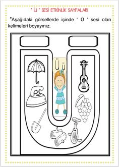 Ü sesi etkinlikleri (14 sayfa)  Çiğdem öğretmen Turkish Language, Alphabet Activities, Shining Star, Kindergarten, Mandala, Dil, Education, School, Activities
