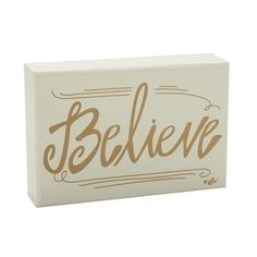 """Believe Box Sign, Gold, 4"""" x 6"""""""