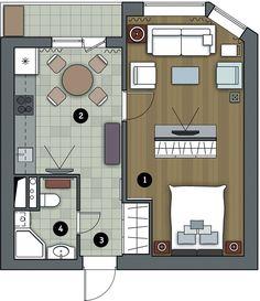 Фото: Идеи вашего дома. Несмотря наскромную площадь, гостиная способна принять четырёхчеловек П‑образное расположение мягкой мебели располагает к&nbs
