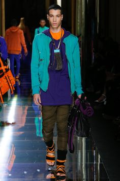 color story:  turquoise, sapphire, olive and orange Balmain Spring 2017 Menswear Fashion Show