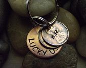 Lucky Us Copper Keychain with two lucky pennies. year you were born, year you met/year you married...... $18.00, via Etsy.