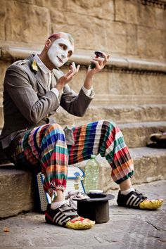 """"""" Street Mime in Florence, Italy. Urban Photography, Street Photography, Pierrot Clown, The Road, Street Magic, Street Musician, Send In The Clowns, Street Performance, People Of The World"""
