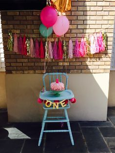 Emme's first birthday ice cream cone theme. Vintage jenny Lind high chair
