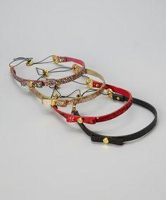 Loving This Red & Gold Glitter Bow Headband Set On #Zulily! #ZulilyFinds