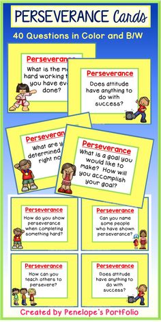 These perseverance question task cards make important additions to any character education / social skills program when reinforcing perseverance, diligence, and hard work. They are easy to use, print & go, are great for elementary students and teachers! Elementary School Counseling, School Social Work, School Counselor, Elementary Schools, Character Trait, Character Education, Counseling Activities, Group Activities, Perseverance For Kids