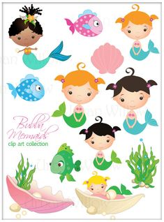 BUBBA MERMAIDS - Clip art set in premium quality 300 dpi, Png and Jpeg files.