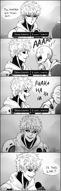 OPM One Punch Man - Genos and Saitama by Lintu, original: http://lintufriikki.tumblr.com/post/136218626798/i-saw-this-vine-and-honestly-couldnt-resist