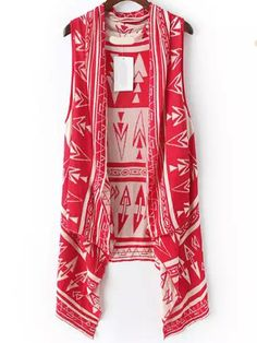 Romwe Drape Front Geometric Print Vest