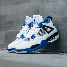 b86cf247661be4 NIKE AIR JORDAN 4 RETRO WHITE GAME ROYAL BLUE BLACK MOTORSPORTS 308497 117   airjordan