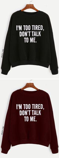 Slogan Print Drop Shoulder Sweatshirt