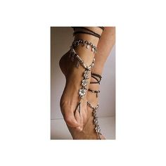 Woodland FAIRY BAREFOOT sandals Purple Forest Green Tribal ANKLETS... ❤ liked on Polyvore