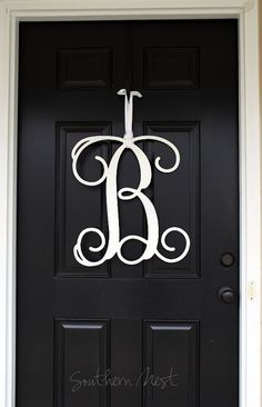 Single Letter Monogram Wooden Door Decor 18 Inches By