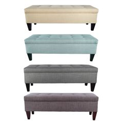 Brooke Button Tufted Upholstered Long Storage Bench Ottoman - Overstock Shopping - Great Deals on Benches