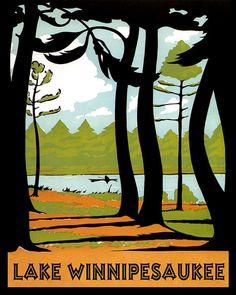 Lake Winnipesaukee 16 x 20 Canoe New Hampshire by HeritagePosters