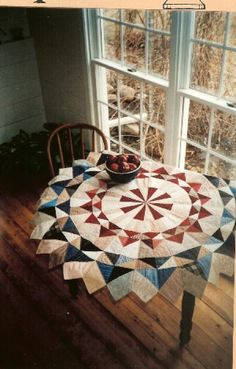 Country Threads :: Rotary Cut and Pieced Quilt Patterns :: Circle of Geese Quilted Table Topper and Tree Skirt Pattern