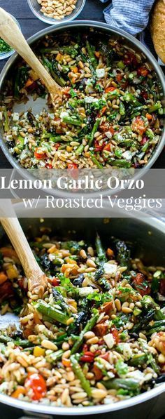 Lemon Garlic Orzo with Roasted Vegetables, feta and pine nuts is packed with texture and flavor. Delicious served warm or chilled and makes fabulous leftovers or addition to a picnic, or pot luck. Vegetarian.   Pasta   Salad   Picnic