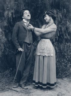 """chaplinfortheages: Charlie Chaplin and Minta Durfee (Mrs Roscoe """"Fatty"""" Arbuckle) in 1914 Keystone's """"THE STAR BOARDER"""" - The tramp could be such a stud with the ladies, especially in his Keystone films."""