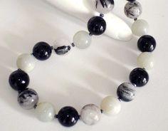 CLICK HERE TO BUY:  www.etsy.com/...    VERY TIF FANY - Ashira Semi-Precious Gemstone Bead Necklace Black and White, Rutilated Quartz, Black Onyx, Grey Moonstone. $285.00, via Etsy.