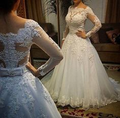 Vestido de noiva Wedding Dress Boat Neck Vestido casamento Lace Long Sleeve