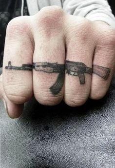 http://tattoo-ideas.us/wp-content/uploads/2013/12/AK-47.jpg AK-47 #BlackInk, #Fingertattoos