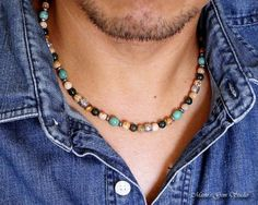 Mens Necklace Green Turquoise Bloodstone Picture Jasper