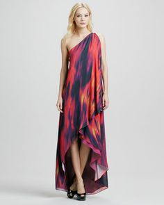 Chromatic One-Shoulder Draped Gown  by Halston Heritage at Bergdorf Goodman.