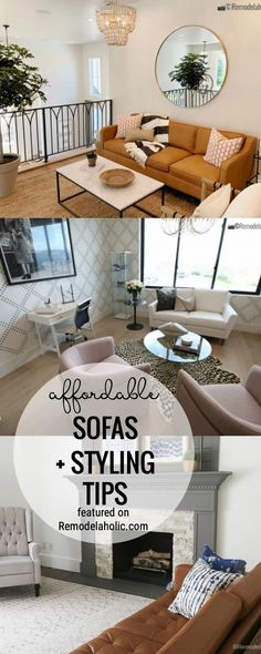 Find An Affordable Sofa Plus Tips For How To Style A New Sofa Featured On Remodelaholic.com #livingrooms #sofas #affordablesofas #sofatips
