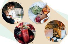 1. Os hóspedes podem fazer aulas de culinária e comprar produtos locais 2. Champanhe em homenagem a Sofia Coppola em versão de latinha 3. O gim-tônica com alecrim cai bem com os acepipes típicos da região 4. Interior da cozinha, que se dedica aos pratos c (Foto: Reprodução e Divulgação)