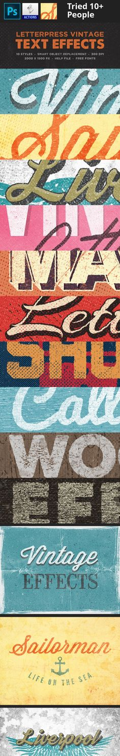 Buy Vintage Text Effect by HyperPix on GraphicRiver. Featurs 10 Unique style pixels 300 DPI Fully editable Works with smart object layer PDF Help file Free font. Air Board, Vintage Style, Retro Vintage, Photoshop Text Effects, Retro Font, Publication Design, Graphic Design Illustration, Graphic Design Inspiration, Letterpress