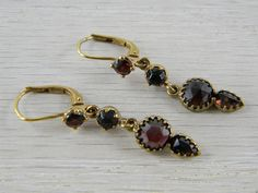 14K Gold Wire Victorian Bohemian Garnet by AntiqueJewelryAddict