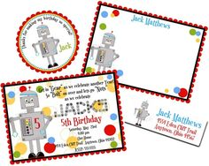 Robot Invitations Robot Birthday Party by LittlebeaneBoutique