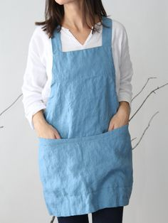 This is a shorter and lighter version of our linen Square-Cross apron. Easy to put on apron that slips over your head with no sashes to tie. Made of