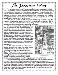 Here's a short reading on the Jamestown colony and related question sheet.