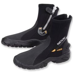 Seac 6mm Super-Stretch Zippered Hard Sole Dive Boots Booties, LG (10/11)