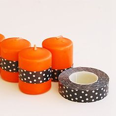 Prep your candles for Halloween with a little washi tape!