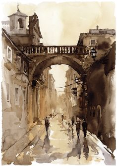 Art for oil paint, watercolor, drawing, anime and graffiti pictures. Watercolor City, Watercolor Sketch, Watercolor Landscape, Landscape Paintings, Watercolor Paintings, Watercolours, Landscapes, Art Aquarelle, Watercolor Architecture