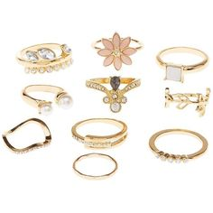 Charlotte Russe Embellished Stackable Rings - 7 Pack (130 MXN) ❤ liked on Polyvore featuring jewelry, rings, gold, gold ring, stackable rings, band jewelry, gold band ring and charlotte russe jewelry