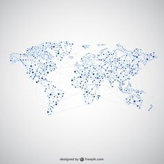 World map global network map design Free Vector