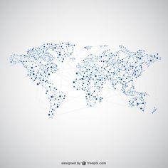 World map global network design  Free Vector