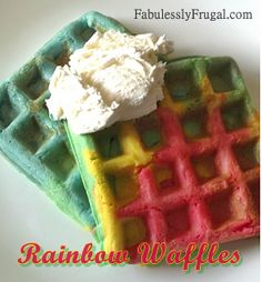 Rainbow Waffles cute for St. Patrick's Day or Party Idea.