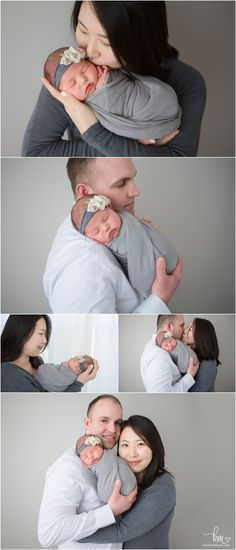 family shots with newborn baby girl - grey and white tones