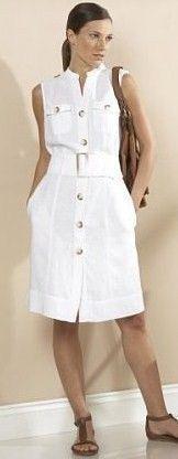 Vestido blanco con botones cinturón sin manga Linen Dresses, Casual Dresses, Short Dresses, Casual Outfits, Fashion Dresses, Summer Outfits, Summer Dresses, Summer Shoes, African Fashion