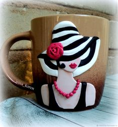 I like this for a idea for a watercolor painting Polymer Clay People, Polymer Clay Canes, Polymer Clay Dolls, Polymer Clay Projects, Polymer Clay Creations, Polymer Clay Jewelry, Mug Decorating, Clay Cup, Clay Charms