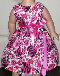 """Doll Clothes-Handmade-American Girl Dolls-Fits 18""""-Hearts and Flowers Dress.    eBay"""