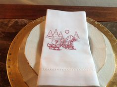 Beautifully Embroidered Hemstitched Dinner by EmbroideredHElegance