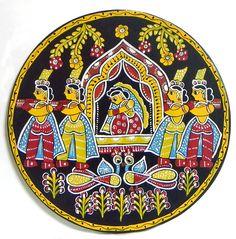 Folk Embroidery Tutorial Bride on a Palki - Wall Hanging (Madhubani Folk Art on Hardboard) - Hungarian Embroidery, Folk Embroidery, Embroidery Ideas, Floral Embroidery, Madhubani Art, Madhubani Painting, Indian Folk Art, Indian Art Paintings, Antique Quilts
