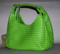 Authentic Bottega Veneta Apple Green Intrecciato Campana Bag Rare $1,688.00