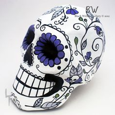 Violet Hills Day of the Dead Paper Mache sugar skull by Lupe Flores for sale at BlackWillowGallery, $55.00
