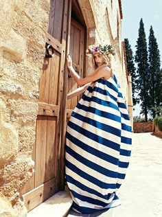 Tropical beach escape - blue and white nautical stripes maxi dress - beach cover-up. by Mara Desipris for Vogue Hellas July 2011 Brigitte Bardot, Looks Style, My Style, Daily Style, Sweet Style, Go Greek, Vogue, Mode Editorials, Fashion Editorials