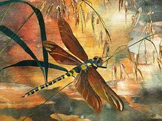 Amanda Richardson - Artist. Golden-ringed Dragonfly with Grasses textile collage 30.5 inches x 22 inches The water of this shallow river is very clear, and is golden in the dappled light.